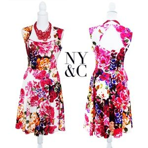NY&C Red/Pink Floral Summer Dress 4
